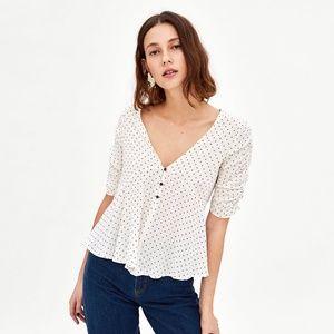 NWOT Zara Size M Polka Dot V-neck Drapped Top